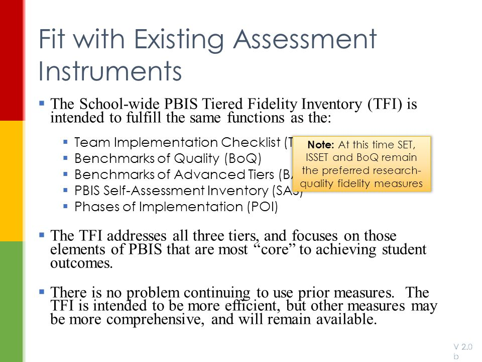 Fit with Existing Assessment Instruments