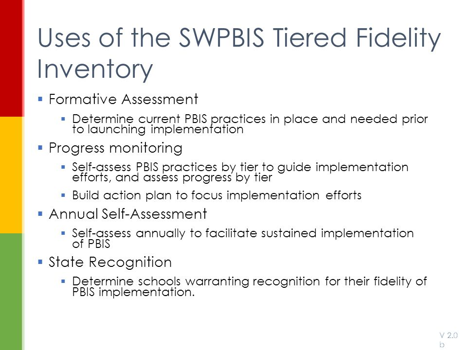 Uses of the SWPBIS Tiered Fidelity Inventory