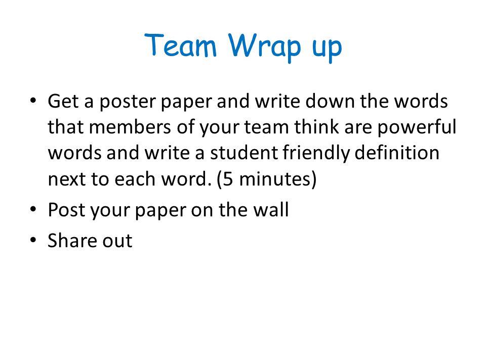 Team Wrap up