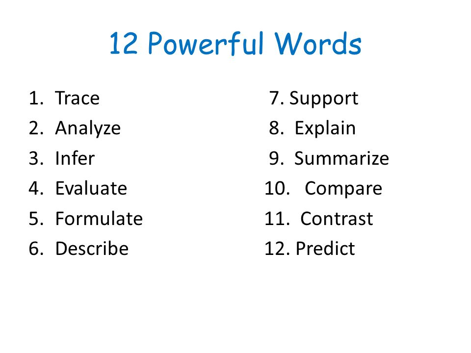12 Powerful Words Trace 7. Support Analyze 8. Explain