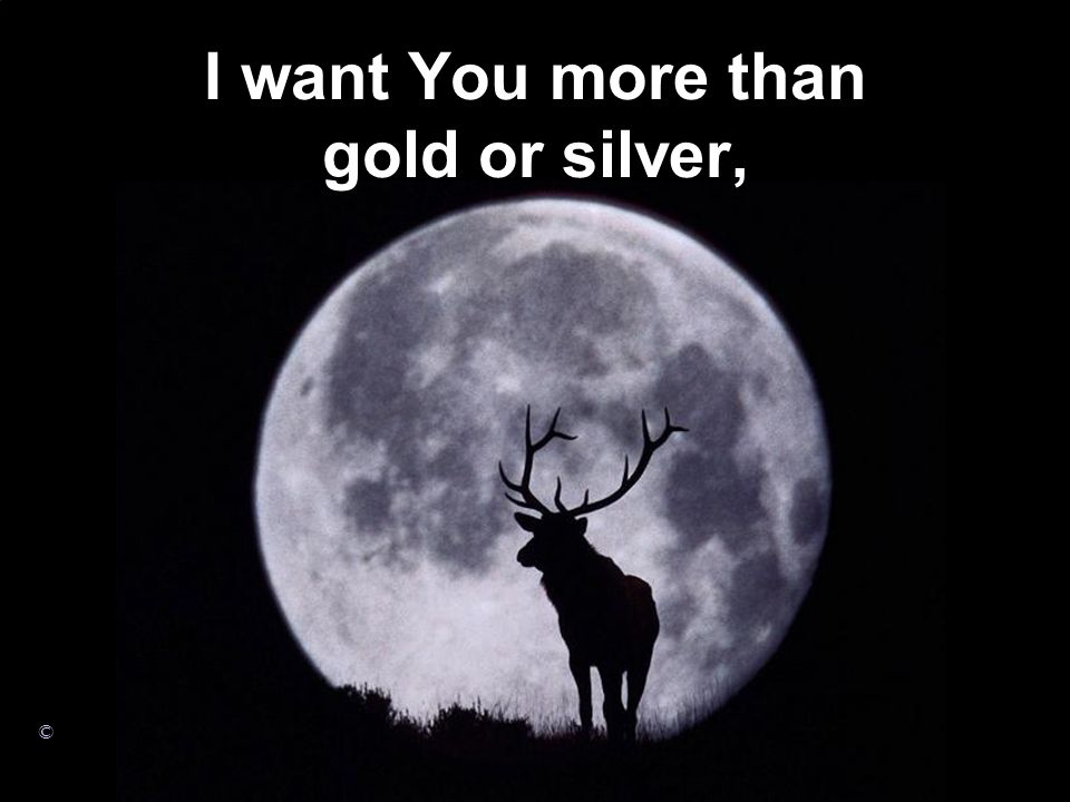 I want You more than gold or silver,