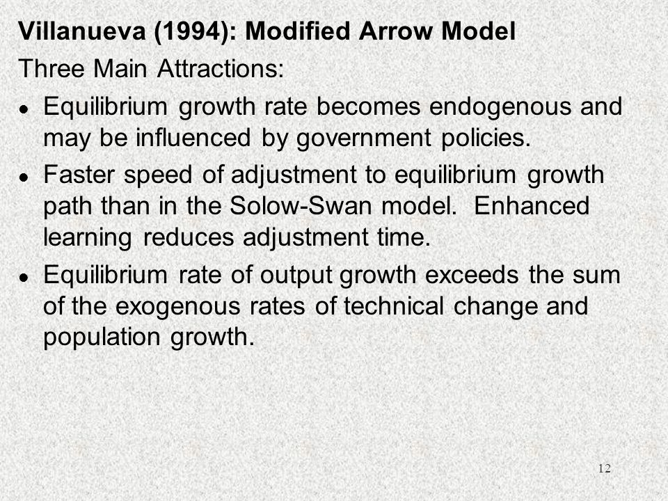 Villanueva (1994): Modified Arrow Model