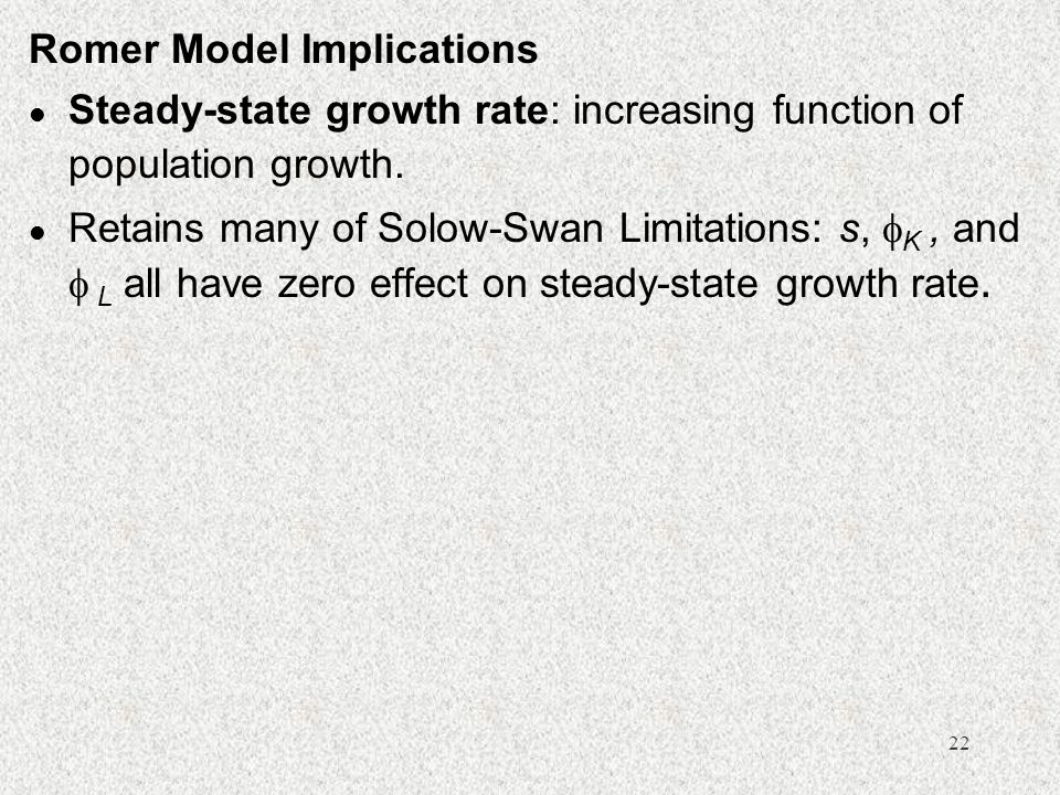 Romer Model Implications