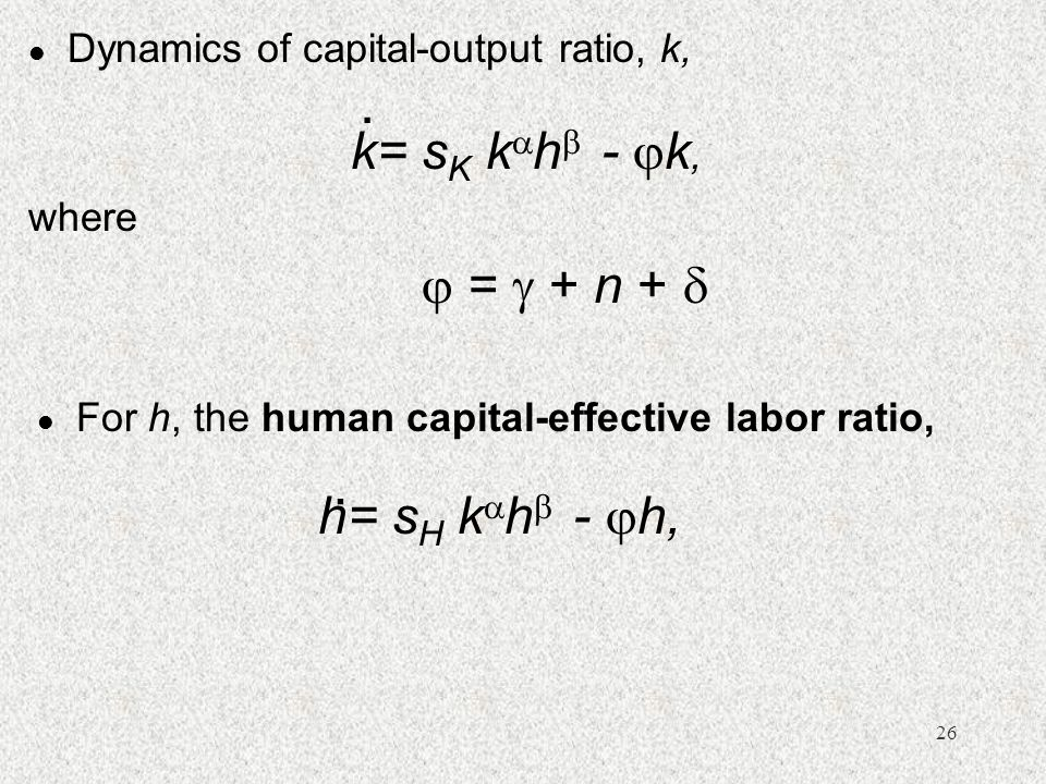 Dynamics of capital-output ratio, k,