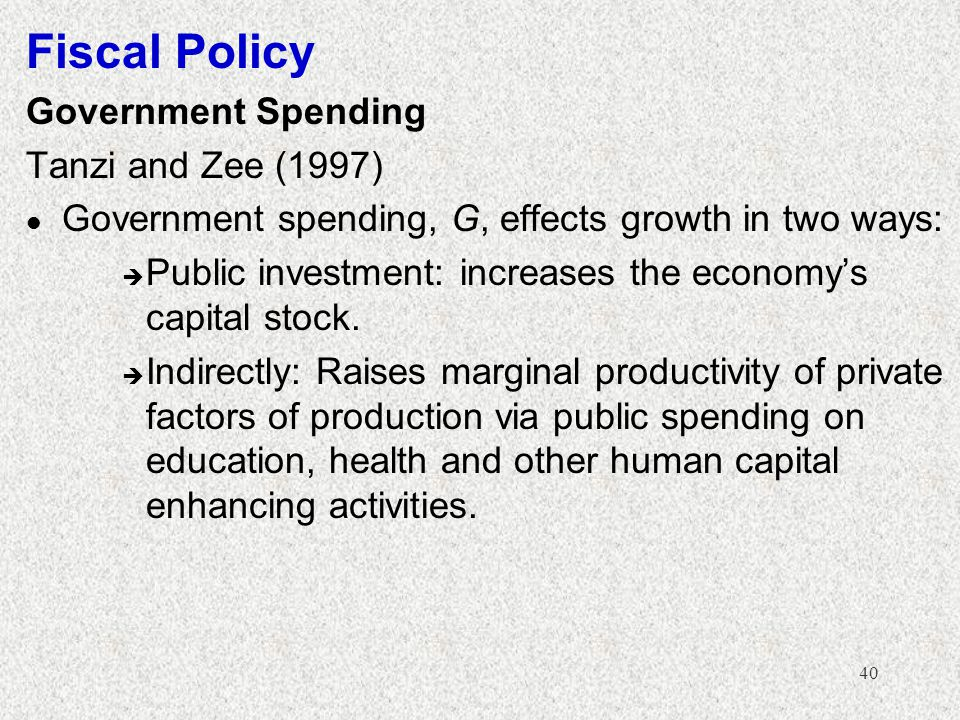 Fiscal Policy Government Spending Tanzi and Zee (1997)
