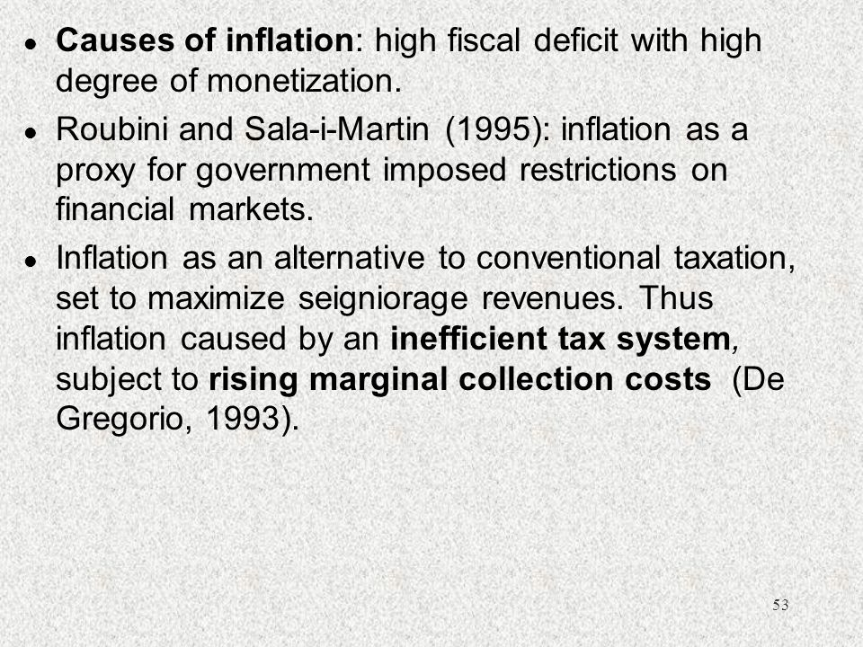 Causes of inflation: high fiscal deficit with high degree of monetization.