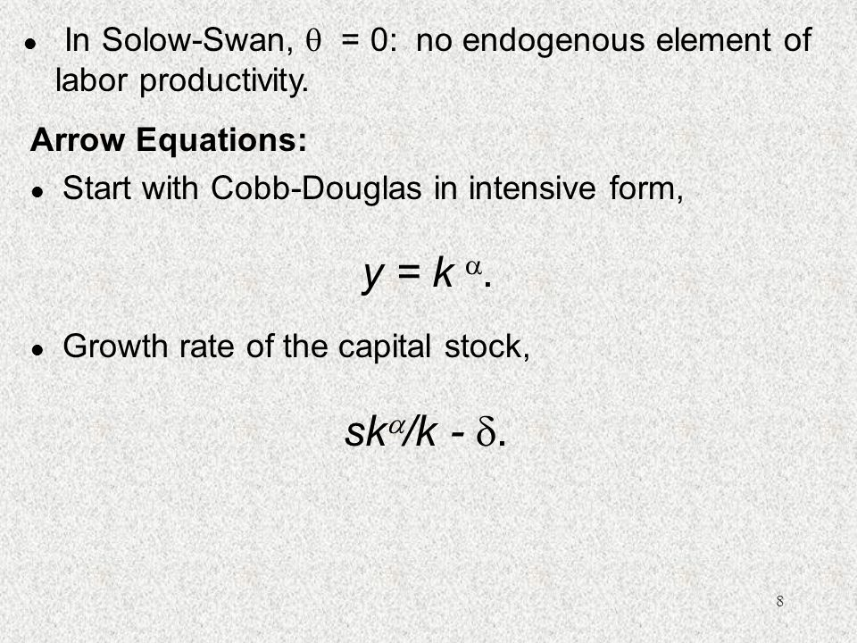 In Solow-Swan,  = 0: no endogenous element of labor productivity.
