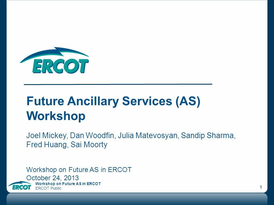 Future Ancillary Services (AS) Workshop