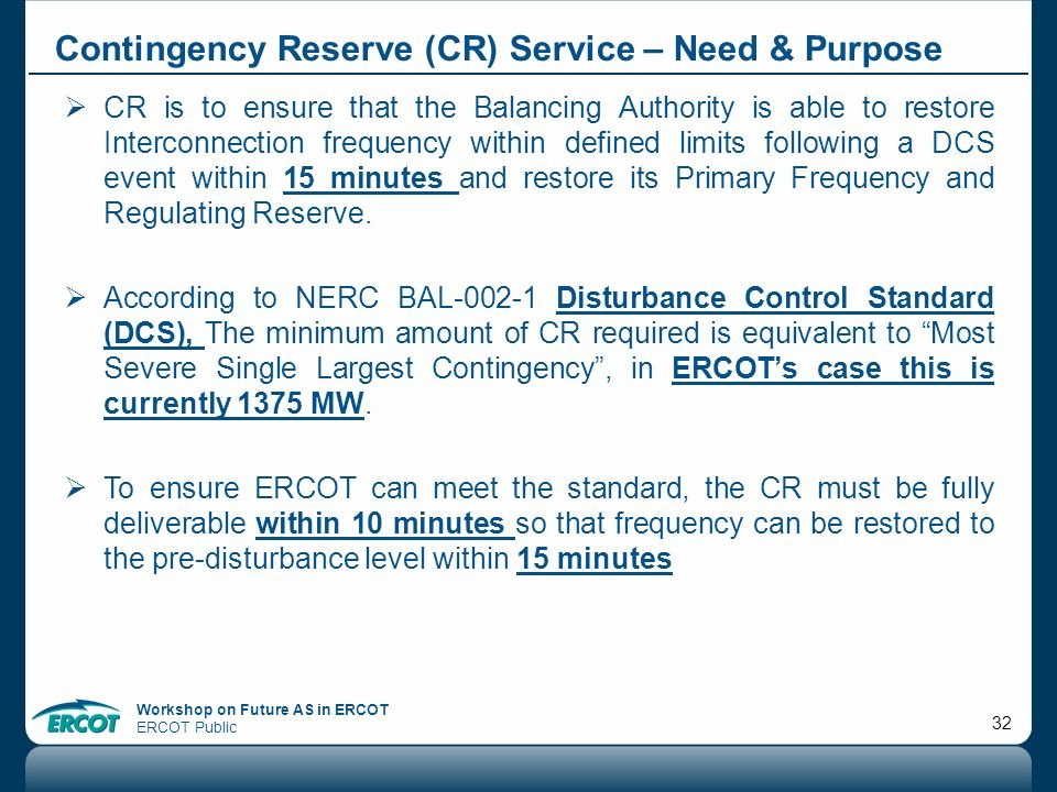 Contingency Reserve (CR) Service – Need & Purpose