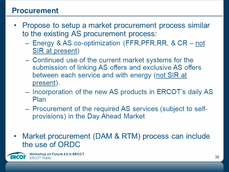 Market procurement (DAM & RTM) process can include the use of ORDC