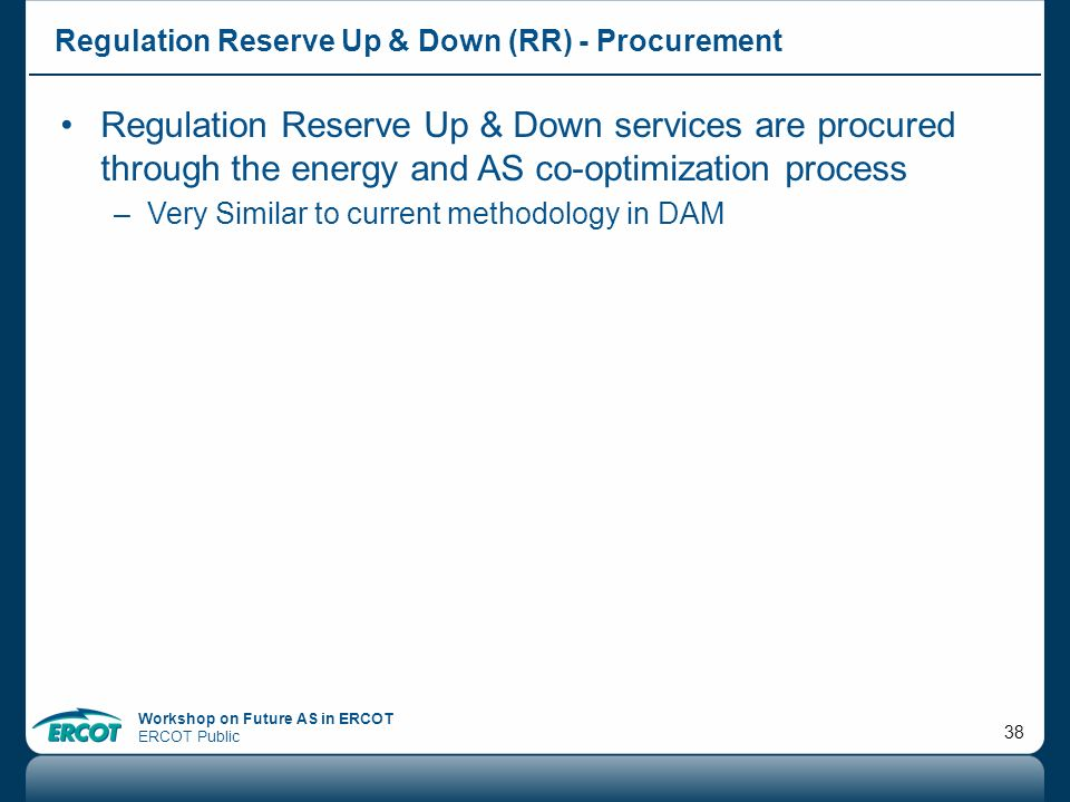 Regulation Reserve Up & Down (RR) - Procurement