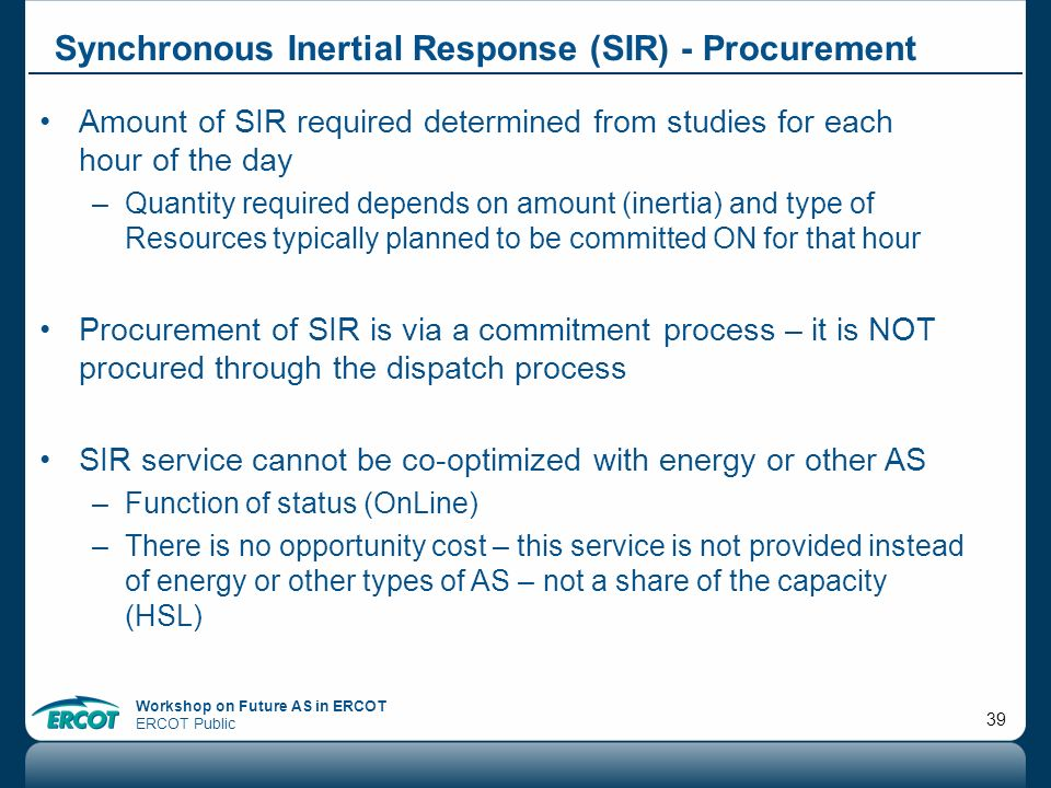 Synchronous Inertial Response (SIR) - Procurement