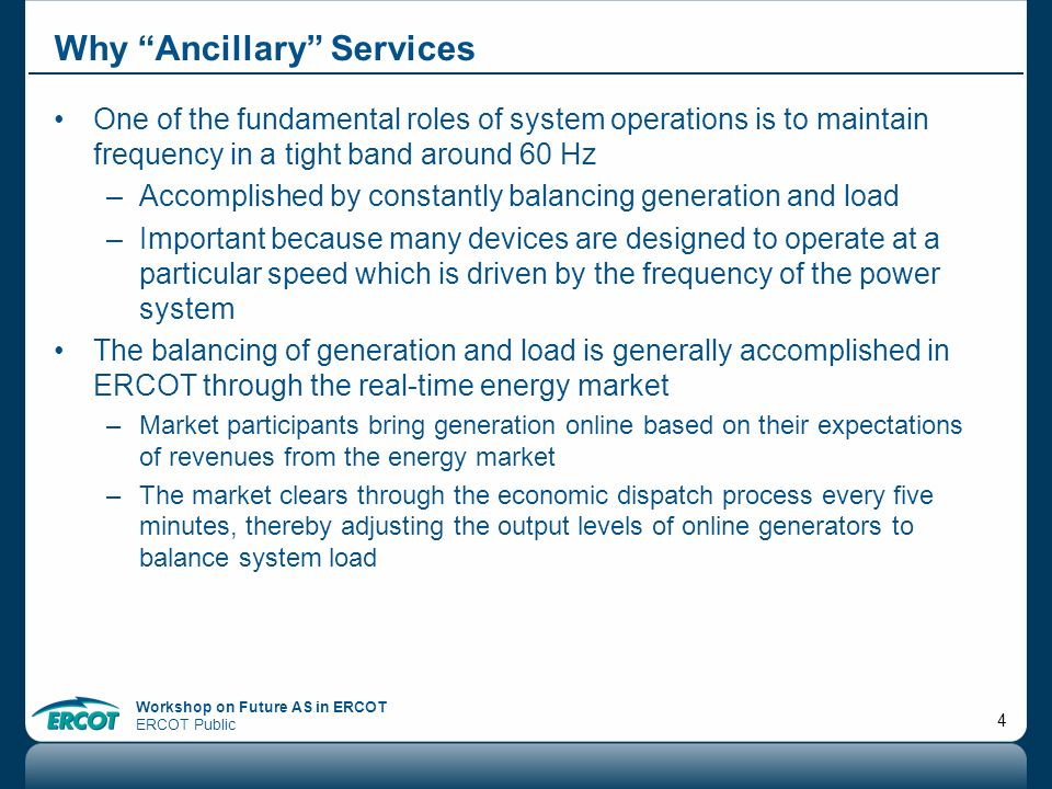 Why Ancillary Services