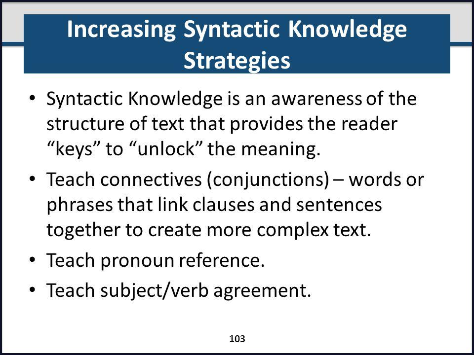 Increasing Syntactic Knowledge Strategies