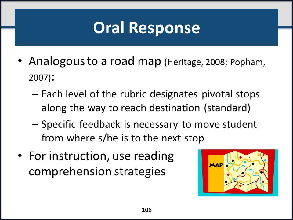 Oral Response Analogous to a road map (Heritage, 2008; Popham, 2007):