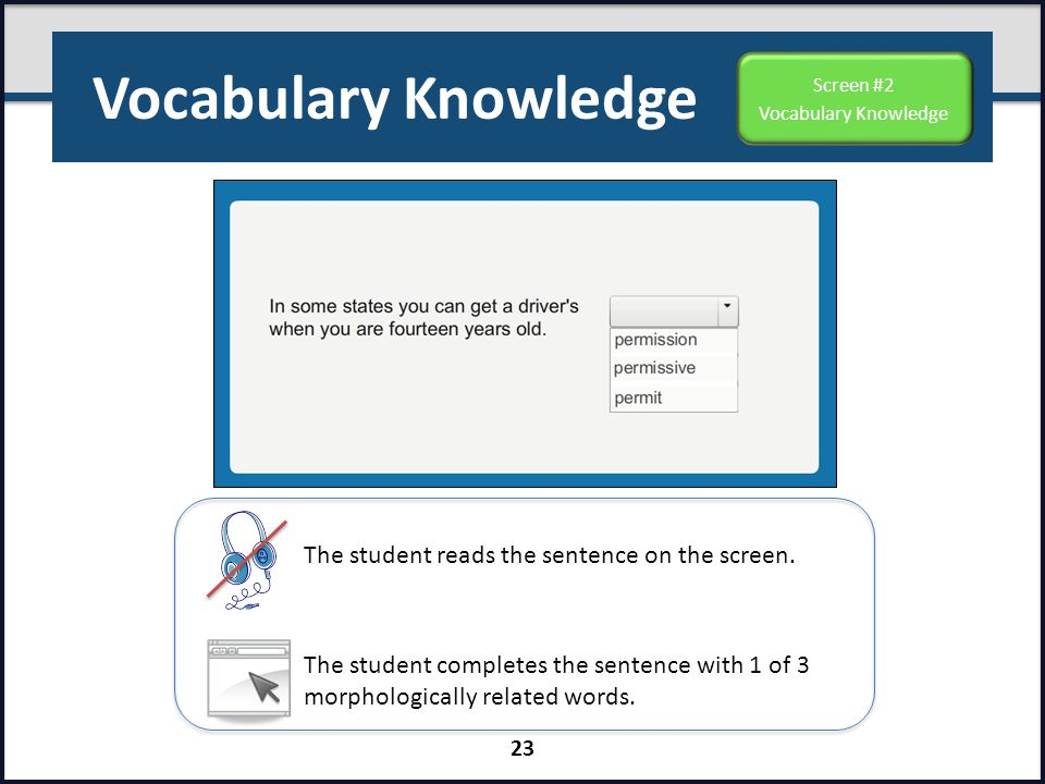 Vocabulary Knowledge The student reads the sentence on the screen.