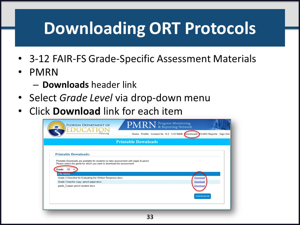 Downloading ORT Protocols
