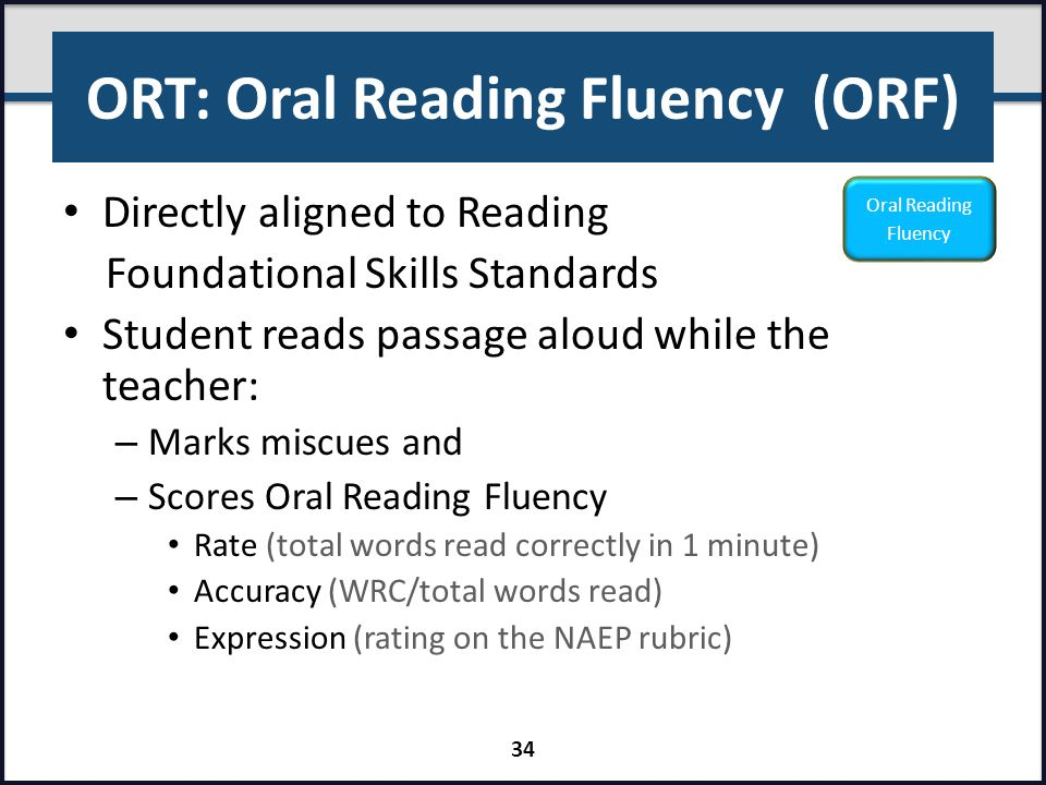 ORT: Oral Reading Fluency (ORF)