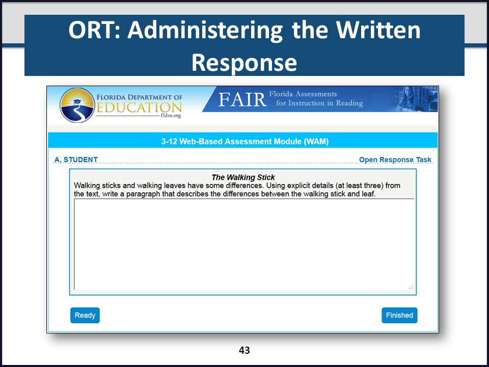 ORT: Administering the Written Response