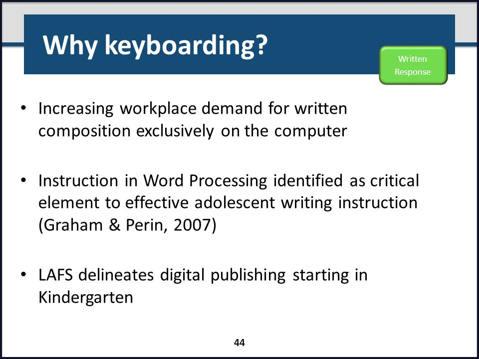 Why keyboarding Written Response. Increasing workplace demand for written composition exclusively on the computer.
