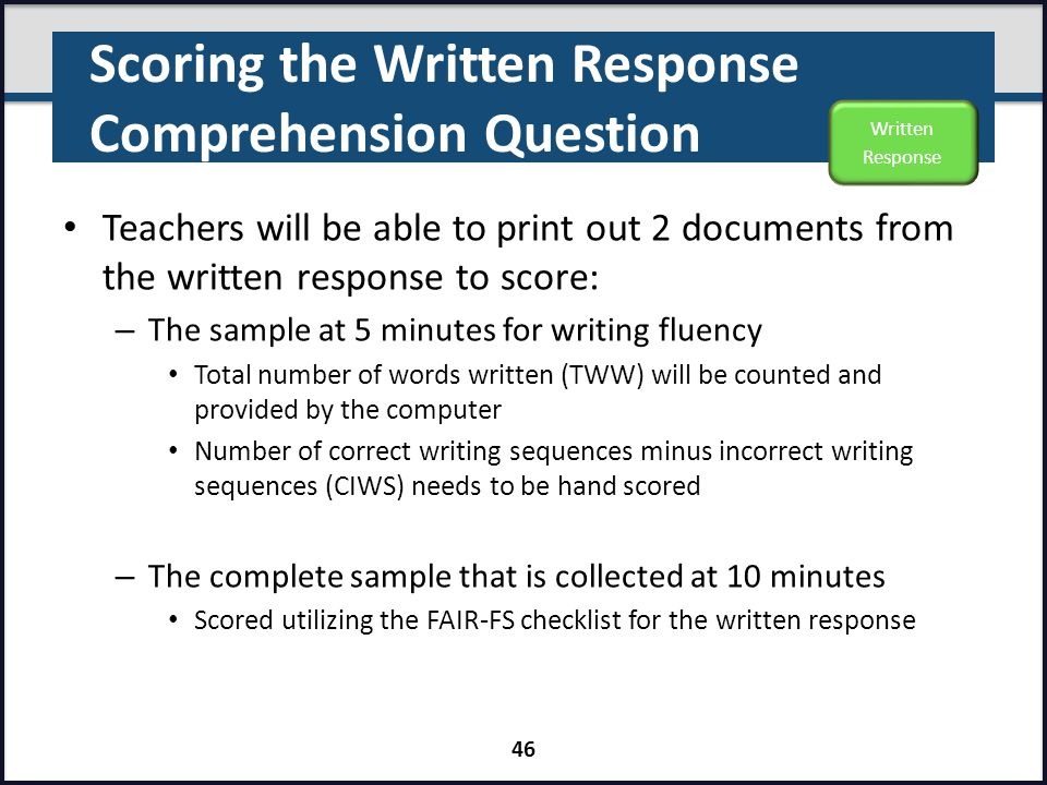 Scoring the Written Response Comprehension Question