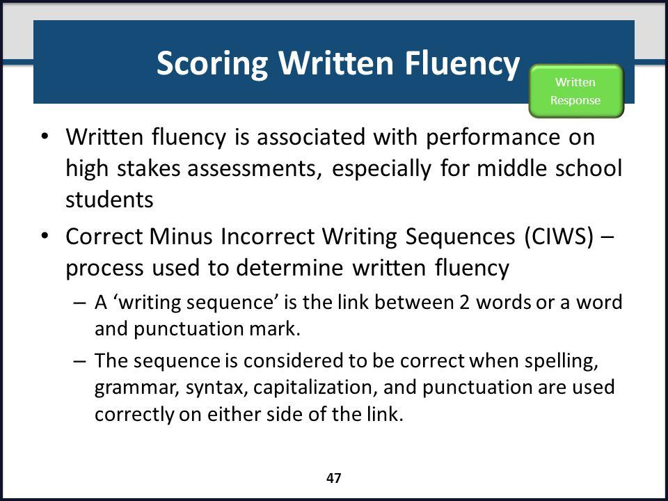 Scoring Written Fluency