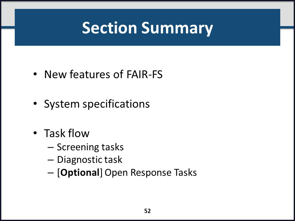 Section Summary New features of FAIR-FS System specifications