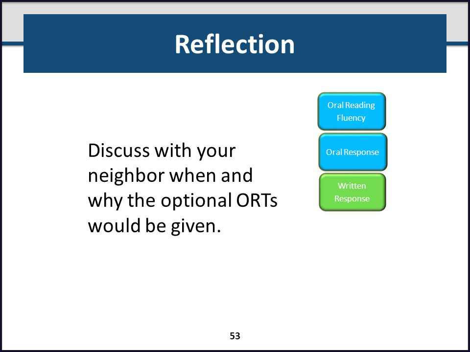 Reflection Written Response. Oral Reading Fluency. Oral Response. Discuss with your neighbor when and why the optional ORTs would be given.