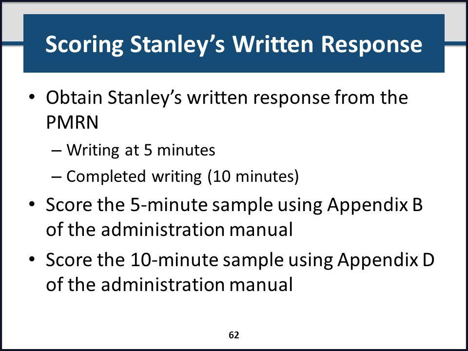 Scoring Stanley's Written Response