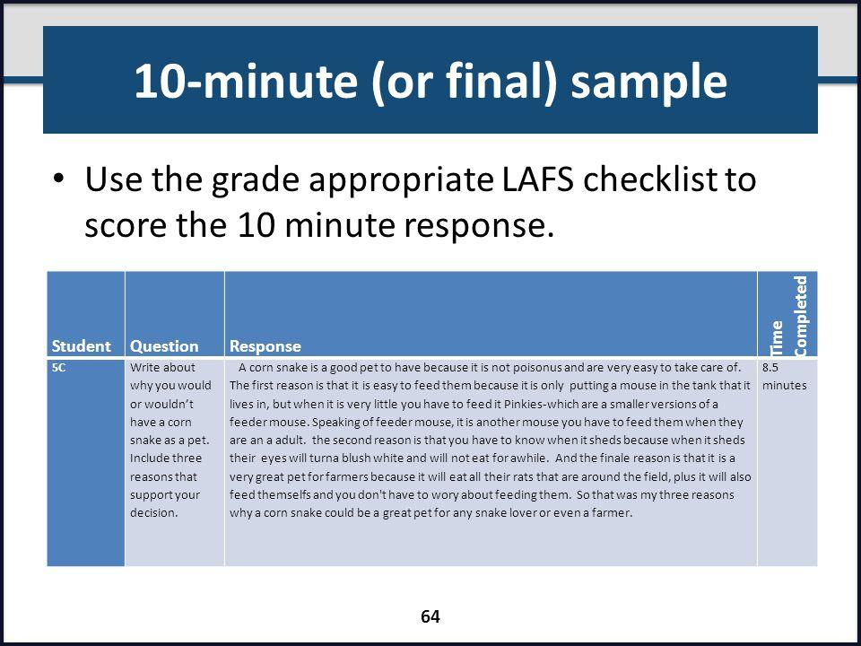 10-minute (or final) sample
