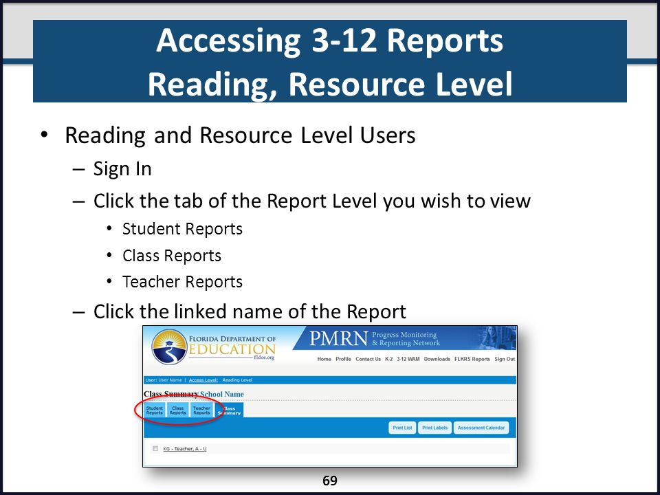 Accessing 3-12 Reports Reading, Resource Level
