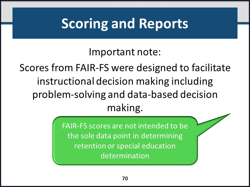 Scoring and Reports