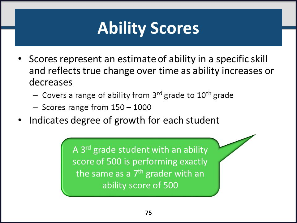Ability Scores Scores represent an estimate of ability in a specific skill and reflects true change over time as ability increases or decreases.