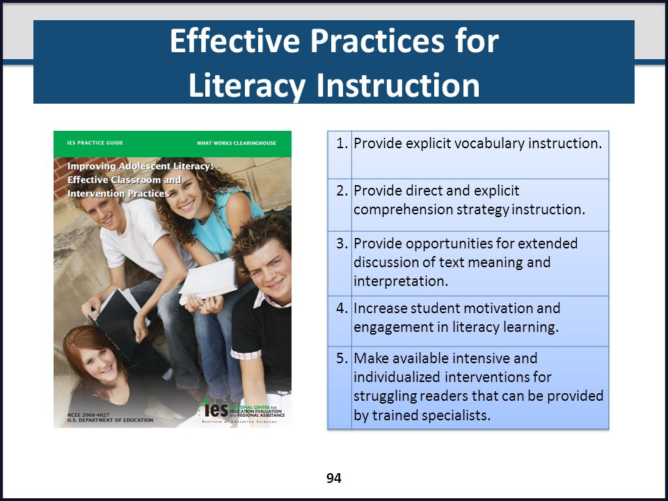 Effective Practices for Literacy Instruction