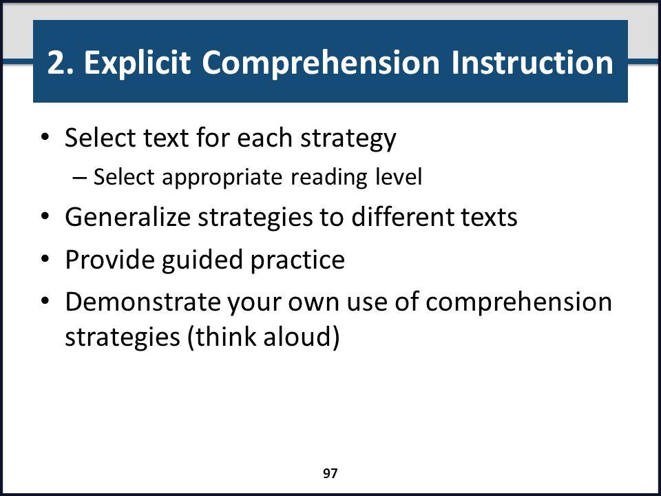 2. Explicit Comprehension Instruction