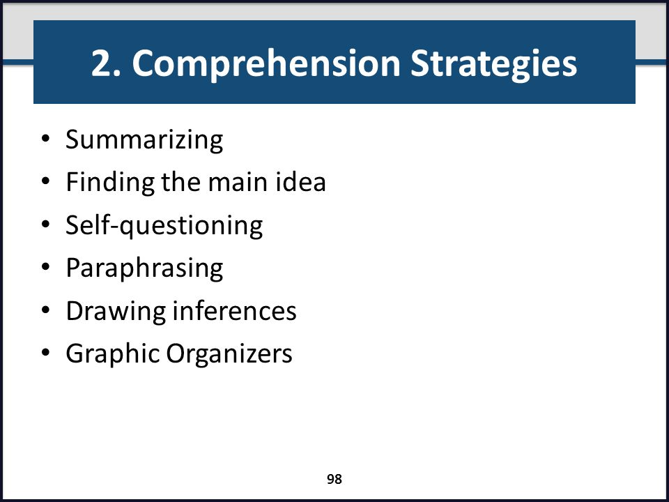 2. Comprehension Strategies
