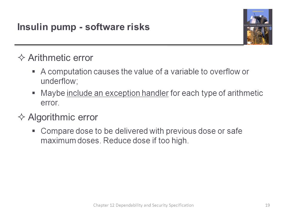 Insulin pump - software risks