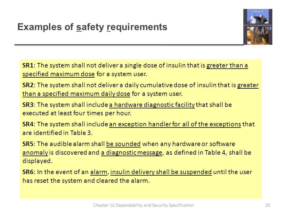 Examples of safety requirements