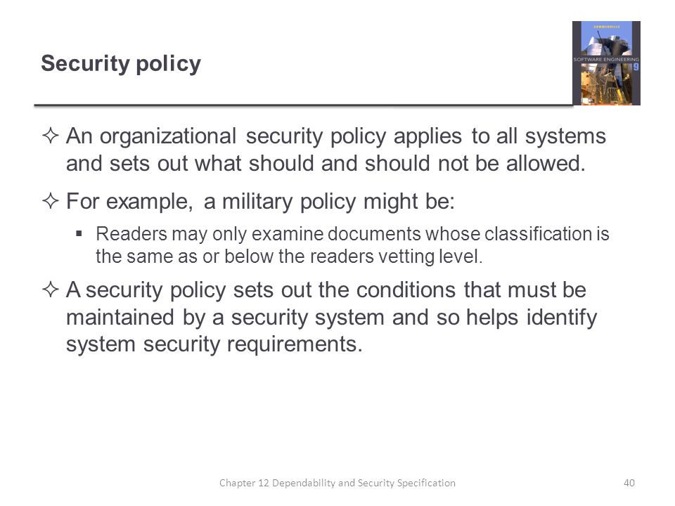 Chapter 12 Dependability and Security Specification