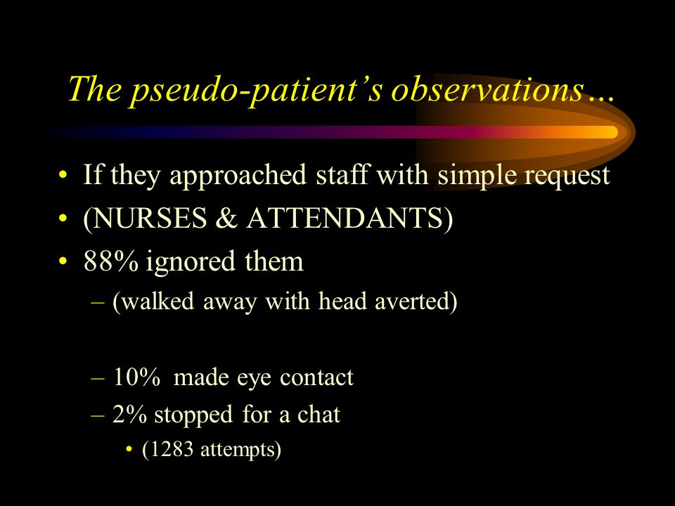 The pseudo-patient's observations…