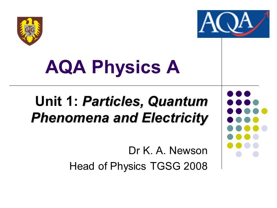 AQA Physics A Unit 1: Particles, Quantum Phenomena and Electricity