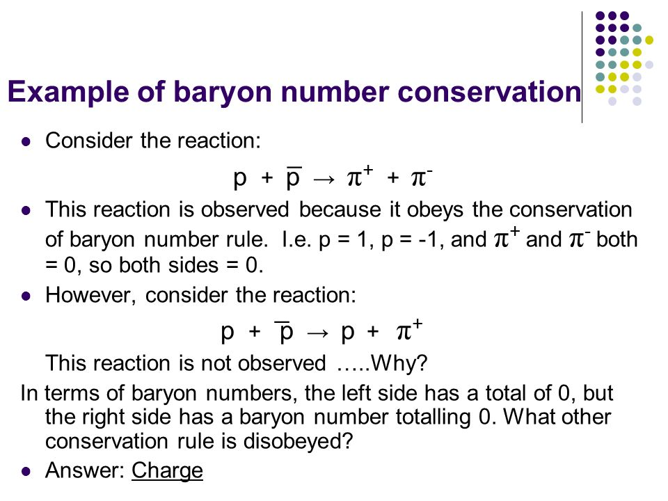 Example of baryon number conservation