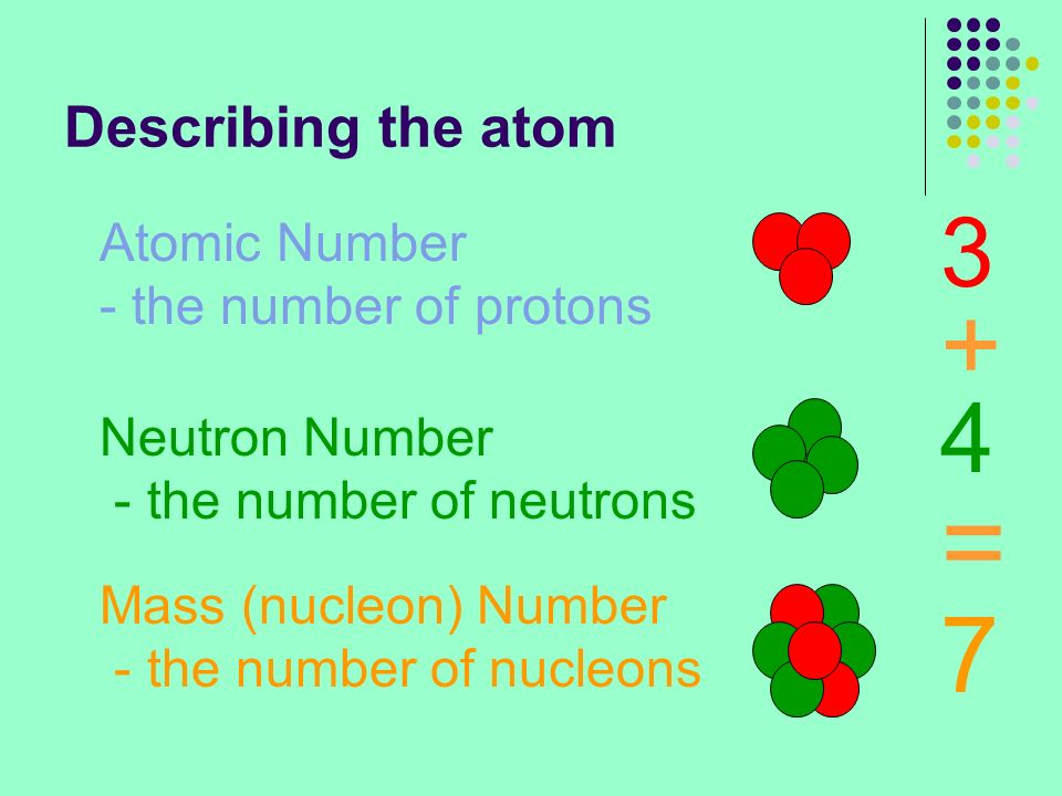 = + 7 3 4 Describing the atom Atomic Number - the number of protons