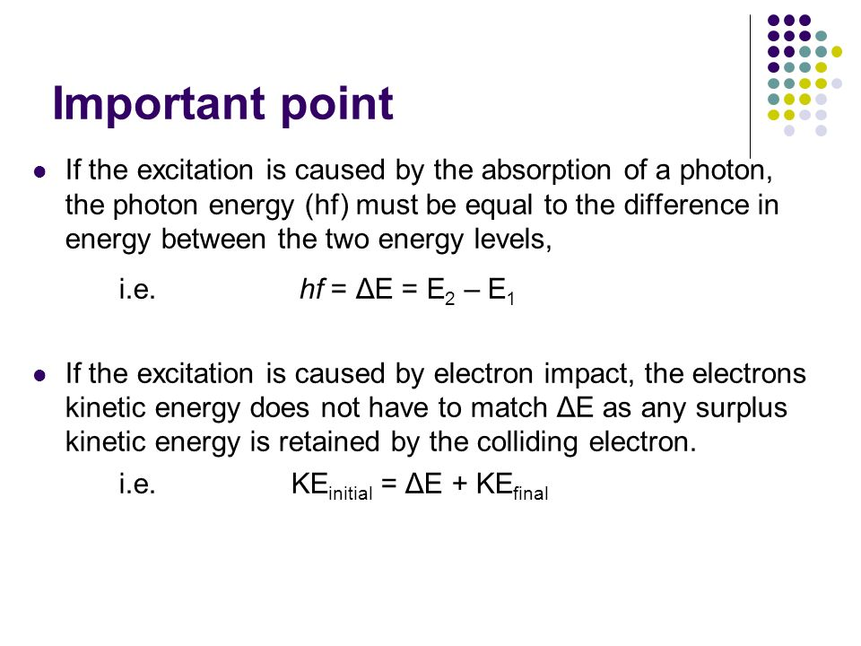 Important point i.e. hf = ΔE = E2 – E1