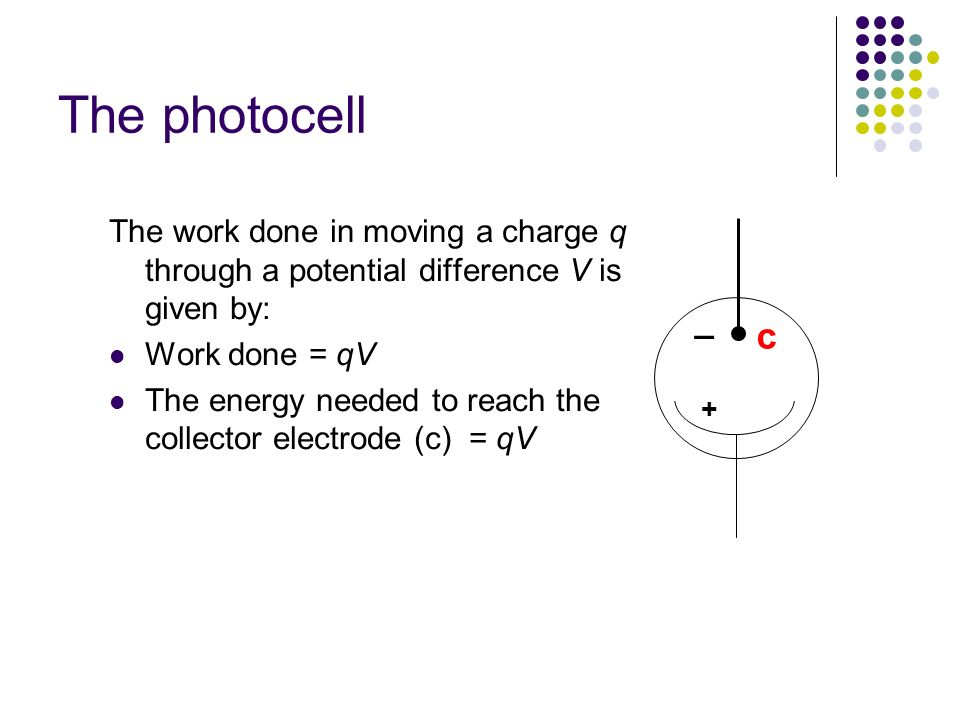 The photocell The work done in moving a charge q through a potential difference V is given by: Work done = qV.