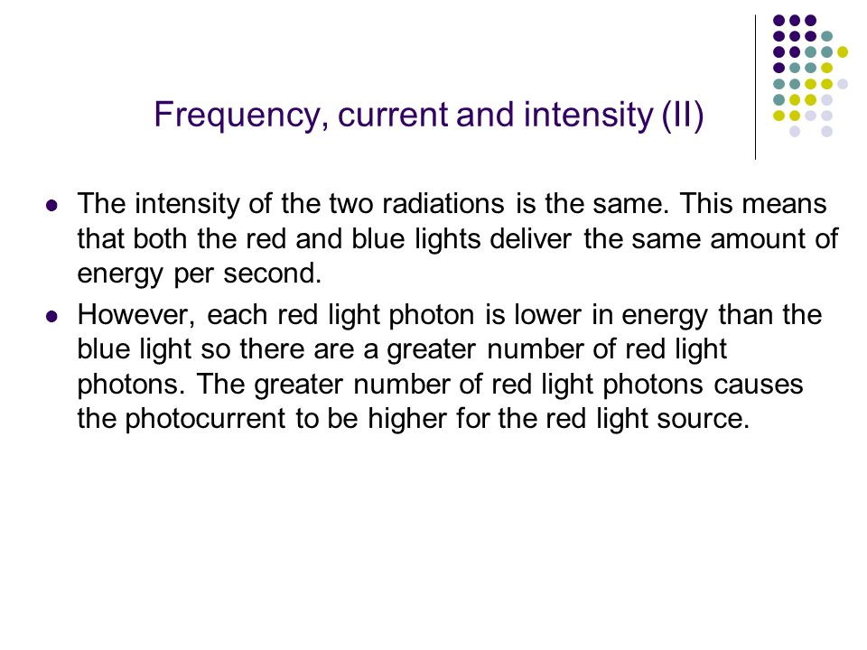 Frequency, current and intensity (II)