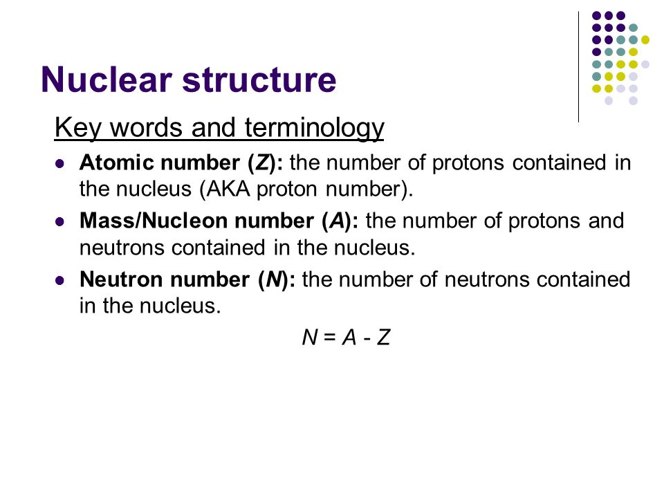 Nuclear structure Key words and terminology