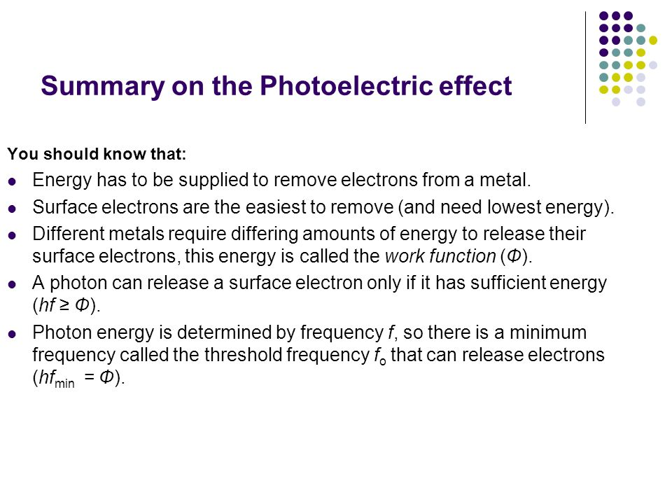 Summary on the Photoelectric effect