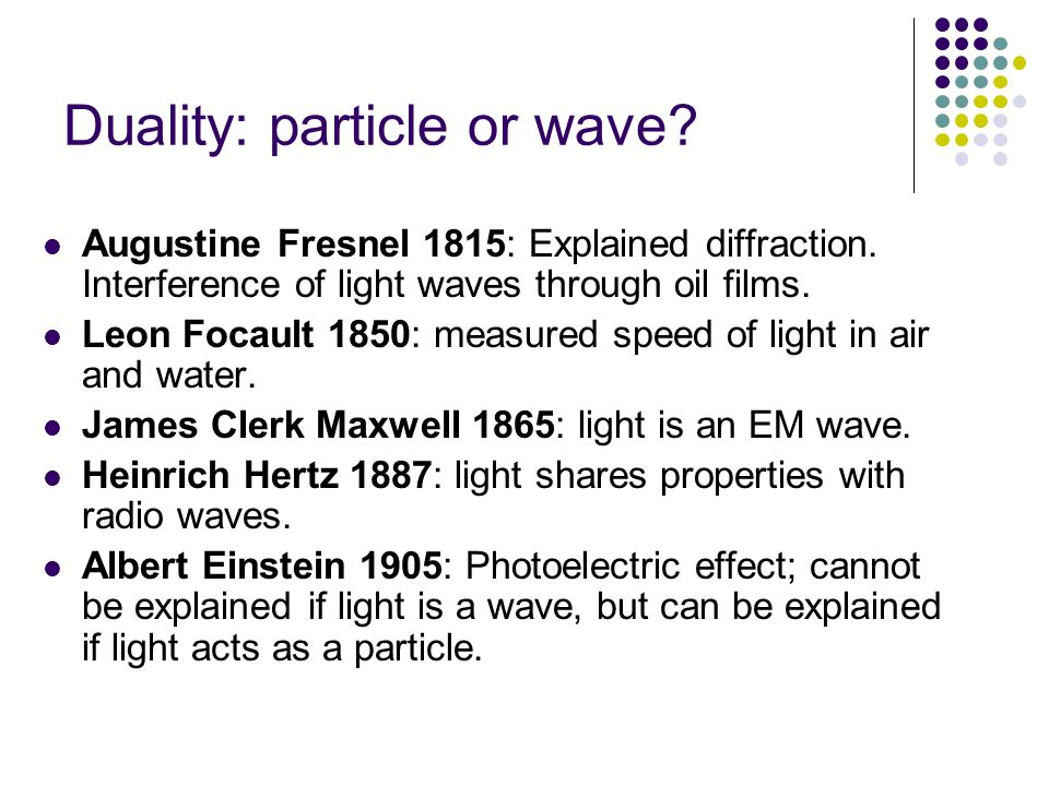Duality: particle or wave