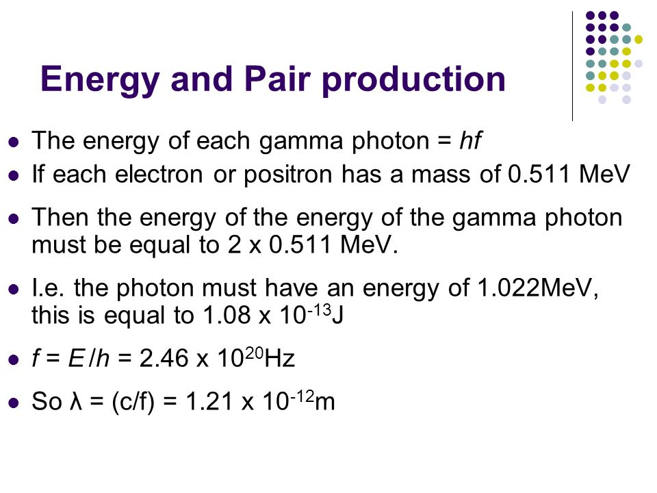 Energy and Pair production